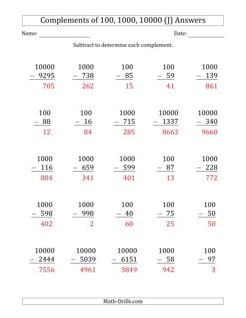The Complements of 100, 1000 and 10000 by Subtracting (J) Math Worksheet Page 2