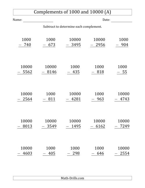 The Complements of 1000 and 10000 by Subtracting (A) Math Worksheet