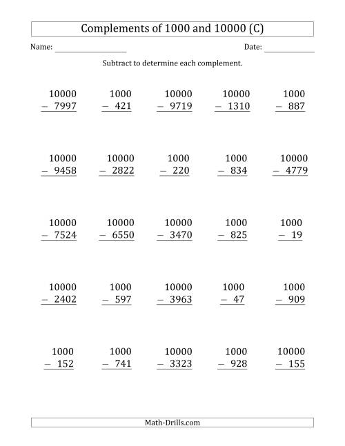 The Complements of 1000 and 10000 by Subtracting (C) Math Worksheet