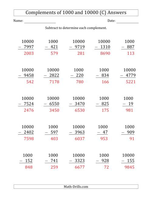 The Complements of 1000 and 10000 by Subtracting (C) Math Worksheet Page 2