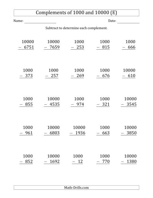 The Complements of 1000 and 10000 by Subtracting (E) Math Worksheet