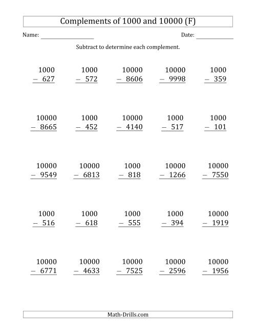 The Complements of 1000 and 10000 by Subtracting (F) Math Worksheet
