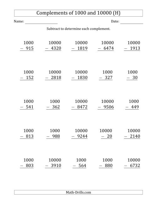 The Complements of 1000 and 10000 by Subtracting (H) Math Worksheet