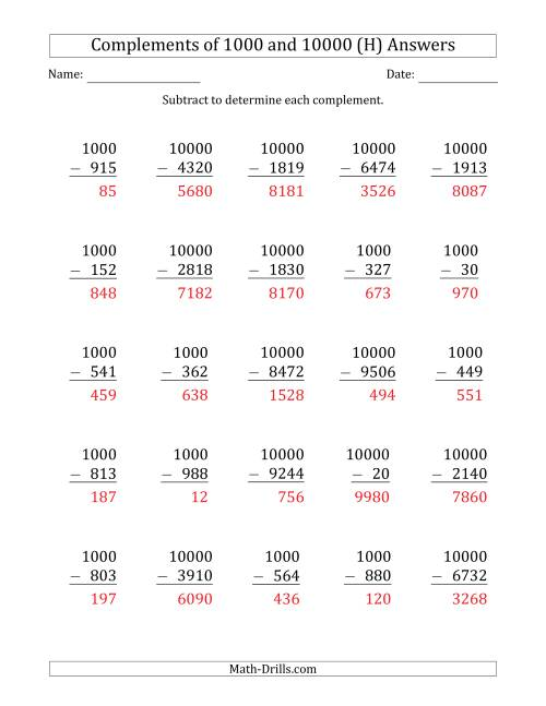 The Complements of 1000 and 10000 by Subtracting (H) Math Worksheet Page 2