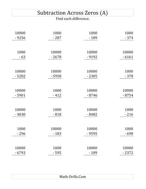The Subtracting Across Zeros Mixture of 1000 and 10000 (Old) Math Worksheet