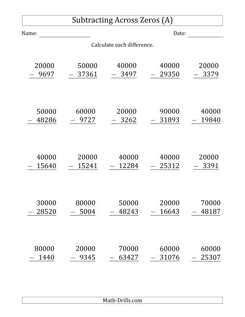 The Subtracting Across Zeros from Multiples of 10000 (A) Math Worksheet