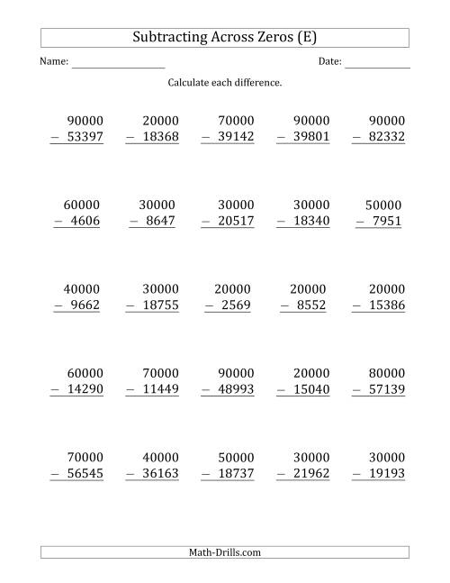 The Subtracting Across Zeros from Multiples of 10000 (E) Math Worksheet