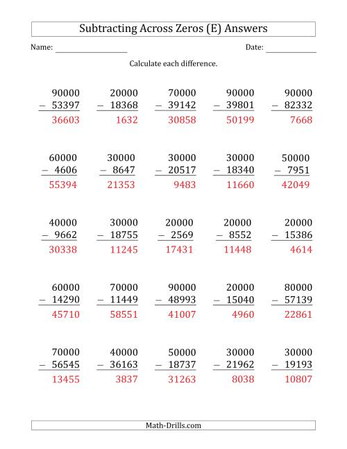 The Subtracting Across Zeros from Multiples of 10000 (E) Math Worksheet Page 2