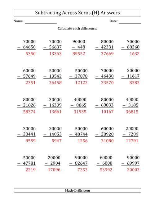 The Subtracting Across Zeros from Multiples of 10000 (H) Math Worksheet Page 2