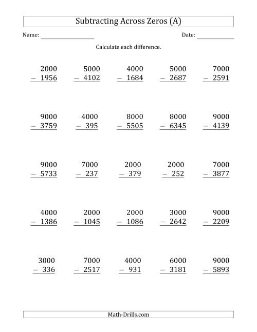{Subtracting Across Zeros from Multiples of 1000 A Subtraction – Subtraction Across Zeros Worksheet