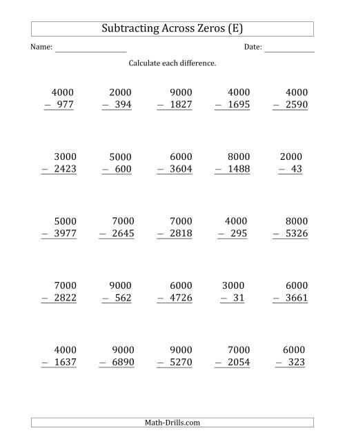 The Subtracting Across Zeros from Multiples of 1000 (E) Subtraction ...