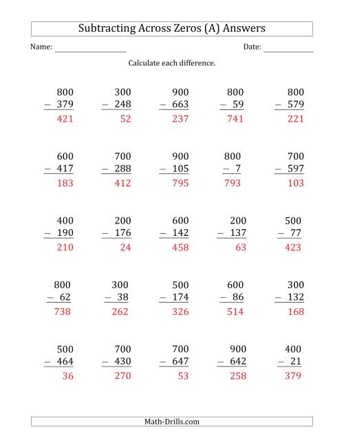 The Subtracting Across Zeros from Multiples of 100 (A) Math Worksheet Page 2
