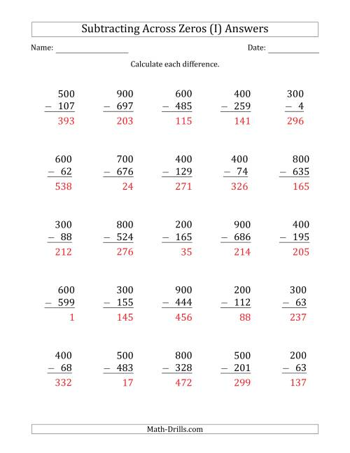 The Subtracting Across Zeros from Multiples of 100 (I) Math Worksheet Page 2