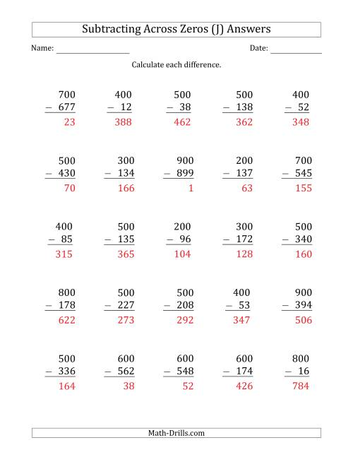 The Subtracting Across Zeros from Multiples of 100 (J) Math Worksheet Page 2