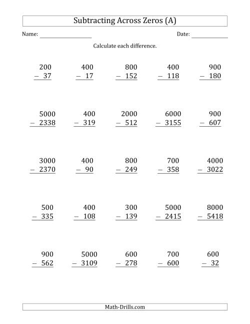 The Subtracting Across Zeros from Multiples of 100 and 1000 (A) Math Worksheet