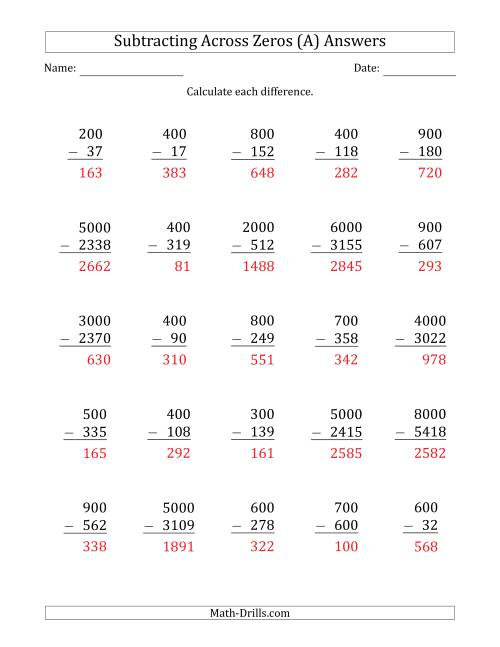 The Subtracting Across Zeros from Multiples of 100 and 1000 (A) Math Worksheet Page 2