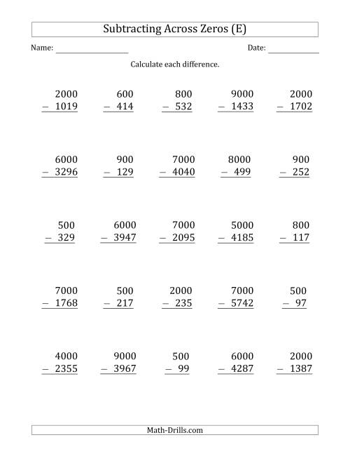 The Subtracting Across Zeros from Multiples of 100 and 1000 (E) Math Worksheet
