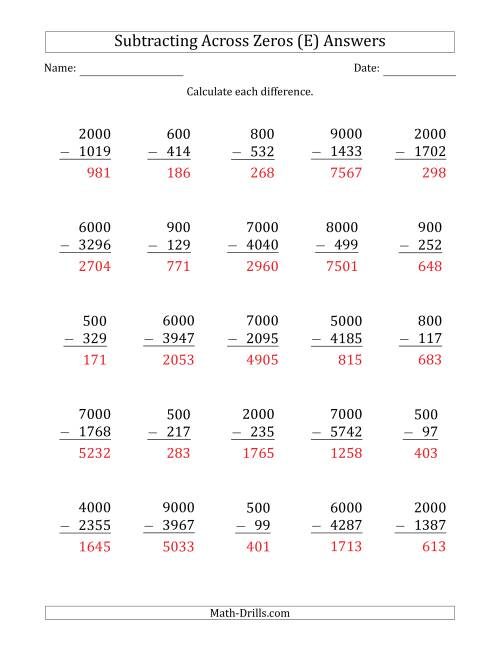 The Subtracting Across Zeros from Multiples of 100 and 1000 (E) Math Worksheet Page 2