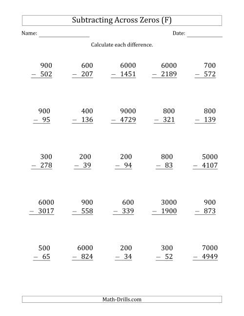 The Subtracting Across Zeros from Multiples of 100 and 1000 (F) Math Worksheet