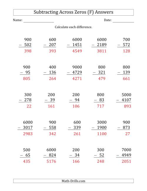 The Subtracting Across Zeros from Multiples of 100 and 1000 (F) Math Worksheet Page 2