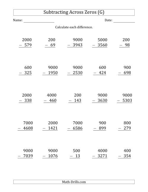 The Subtracting Across Zeros from Multiples of 100 and 1000 (G) Math Worksheet