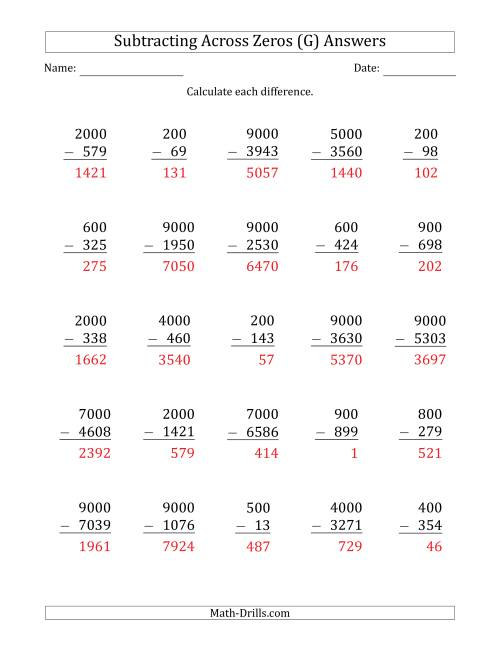 The Subtracting Across Zeros from Multiples of 100 and 1000 (G) Math Worksheet Page 2