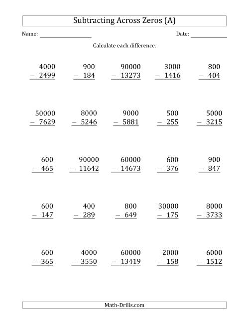 The Subtracting Across Zeros from Multiples of 100, 1000 and 10000 (A) Math Worksheet