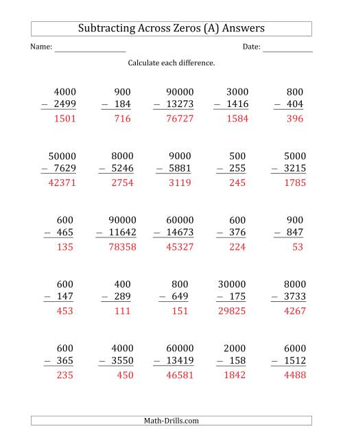 The Subtracting Across Zeros from Multiples of 100, 1000 and 10000 (A) Math Worksheet Page 2