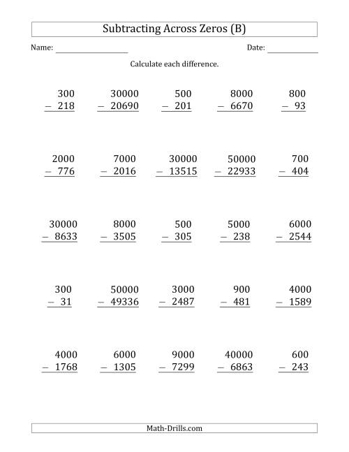The Subtracting Across Zeros from Multiples of 100, 1000 and 10000 (B) Math Worksheet