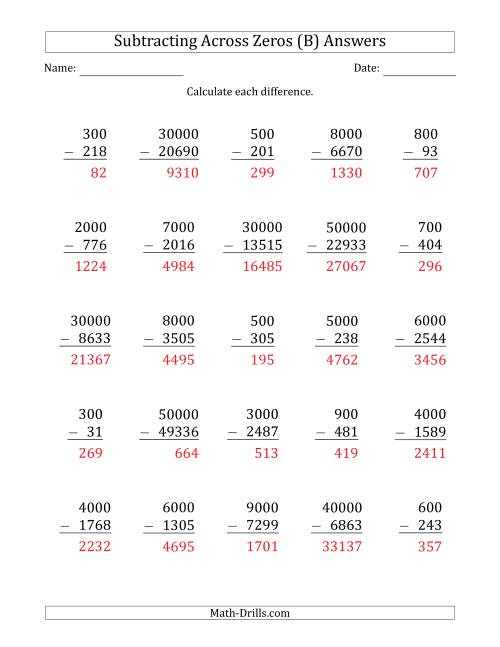 The Subtracting Across Zeros from Multiples of 100, 1000 and 10000 (B) Math Worksheet Page 2