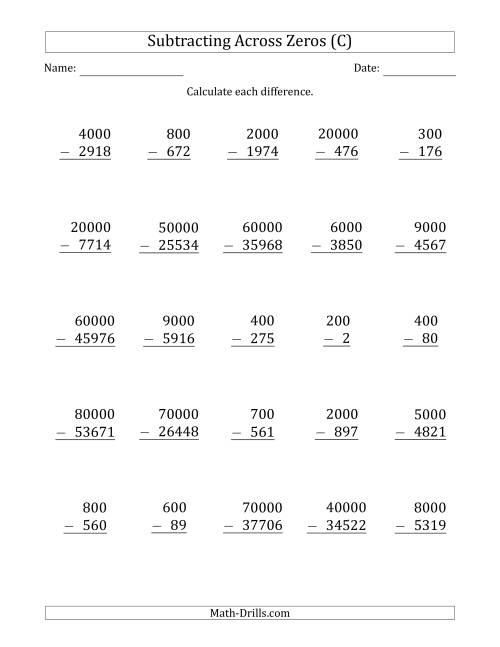 The Subtracting Across Zeros from Multiples of 100, 1000 and 10000 (C) Math Worksheet