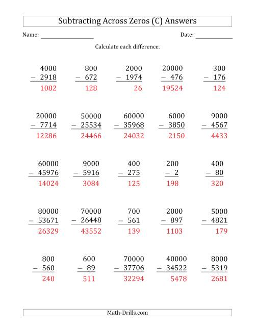 The Subtracting Across Zeros from Multiples of 100, 1000 and 10000 (C) Math Worksheet Page 2