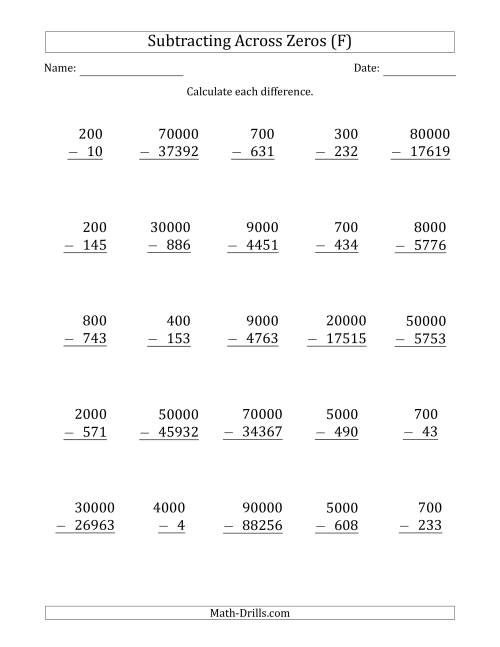 The Subtracting Across Zeros from Multiples of 100, 1000 and 10000 (F) Math Worksheet