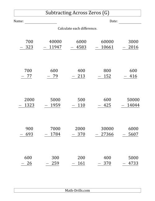 The Subtracting Across Zeros from Multiples of 100, 1000 and 10000 (G) Math Worksheet