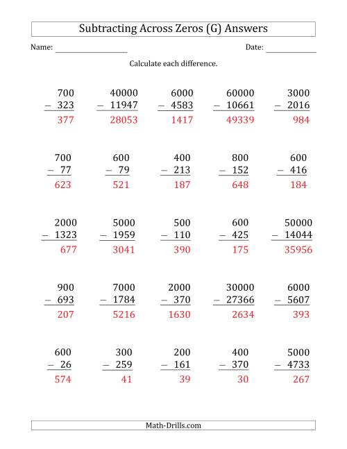 The Subtracting Across Zeros from Multiples of 100, 1000 and 10000 (G) Math Worksheet Page 2