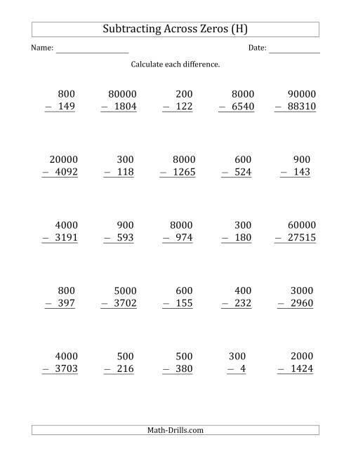The Subtracting Across Zeros from Multiples of 100, 1000 and 10000 (H) Math Worksheet
