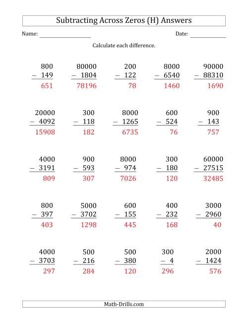 The Subtracting Across Zeros from Multiples of 100, 1000 and 10000 (H) Math Worksheet Page 2