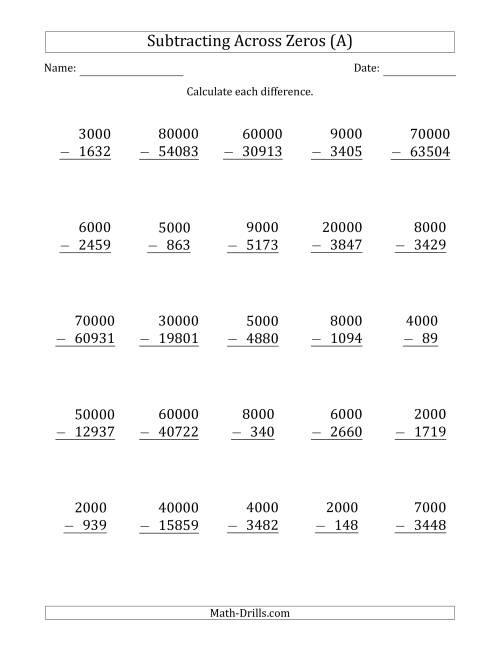 The Subtracting Across Zeros from Multiples of 1000 and 10000 (A) Math Worksheet