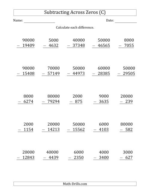 The Subtracting Across Zeros from Multiples of 1000 and 10000 (C) Math Worksheet