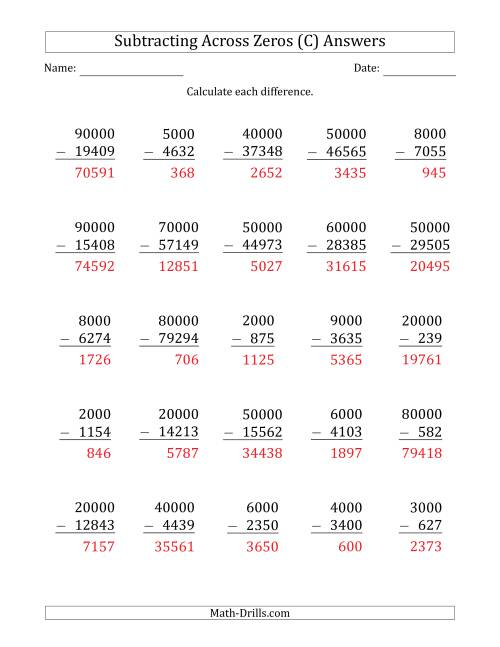 The Subtracting Across Zeros from Multiples of 1000 and 10000 (C) Math Worksheet Page 2