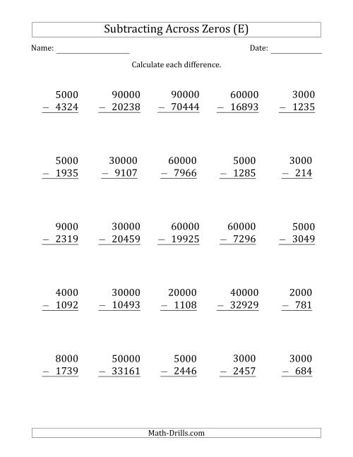 The Subtracting Across Zeros from Multiples of 1000 and 10000 (E) Math Worksheet