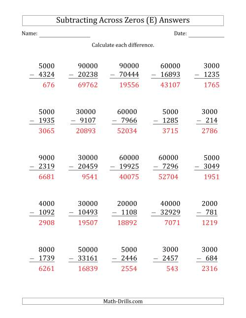 The Subtracting Across Zeros from Multiples of 1000 and 10000 (E) Math Worksheet Page 2