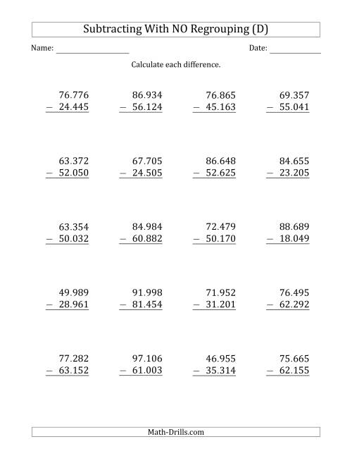 The 5-Digit Minus 5-Digit Subtraction with NO Regrouping with Period-Separated Thousands (D) Math Worksheet