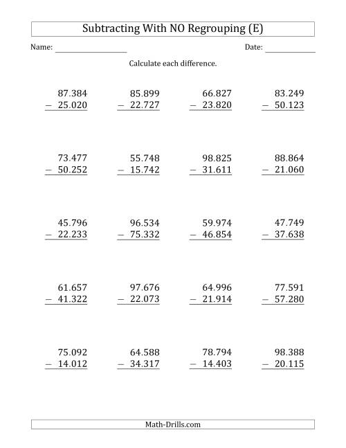 The 5-Digit Minus 5-Digit Subtraction with NO Regrouping with Period-Separated Thousands (E) Math Worksheet