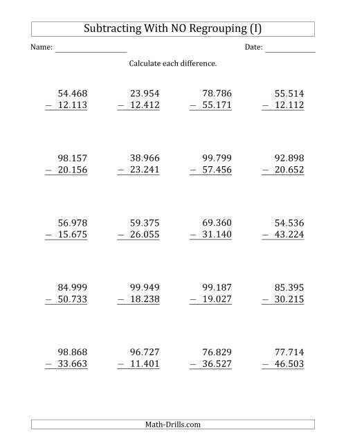 The 5-Digit Minus 5-Digit Subtraction with NO Regrouping with Period-Separated Thousands (I) Math Worksheet