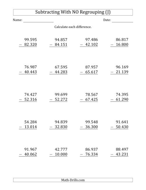The 5-Digit Minus 5-Digit Subtraction with NO Regrouping with Period-Separated Thousands (J) Math Worksheet