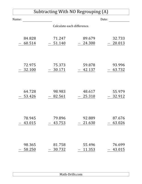 The 5-Digit Minus 5-Digit Subtraction with NO Regrouping with Period-Separated Thousands (All) Math Worksheet