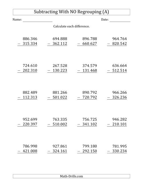 The 6-Digit Minus 6-Digit Subtraction with NO Regrouping with Period-Separated Thousands (A) Math Worksheet