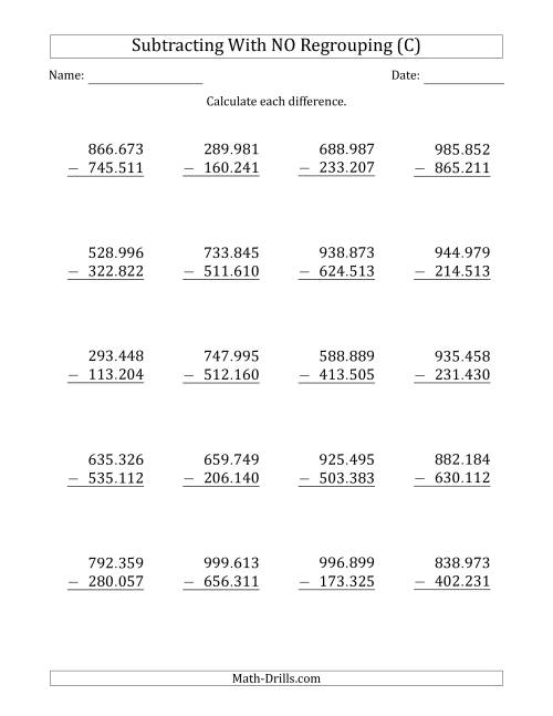 The 6-Digit Minus 6-Digit Subtraction with NO Regrouping with Period-Separated Thousands (C) Math Worksheet