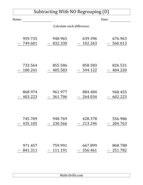 The 6-Digit Minus 6-Digit Subtraction with NO Regrouping with Period-Separated Thousands (D) Math Worksheet